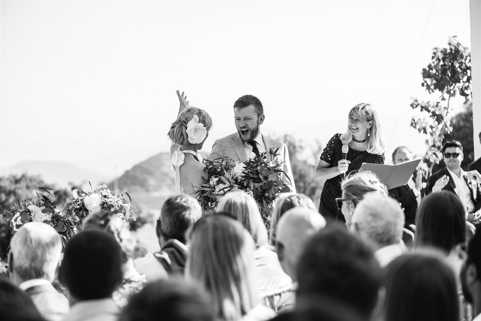 black and white photo by Andreas Holm of bespoke wedding ceremony by Celebrant Spain