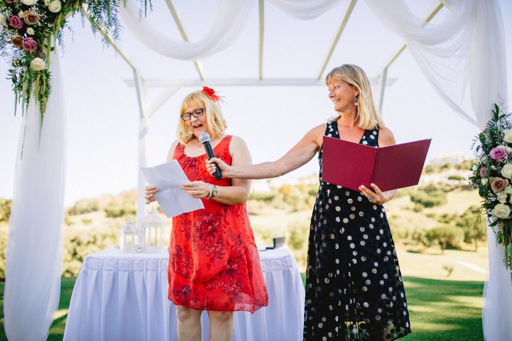 wedding guest reading at Mijas with Celebrant Spain and photo David Luque