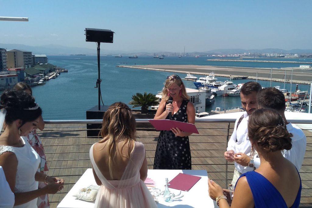 Celebrant Spain officiating wedding on board the Sunborn yacht Gibraltar