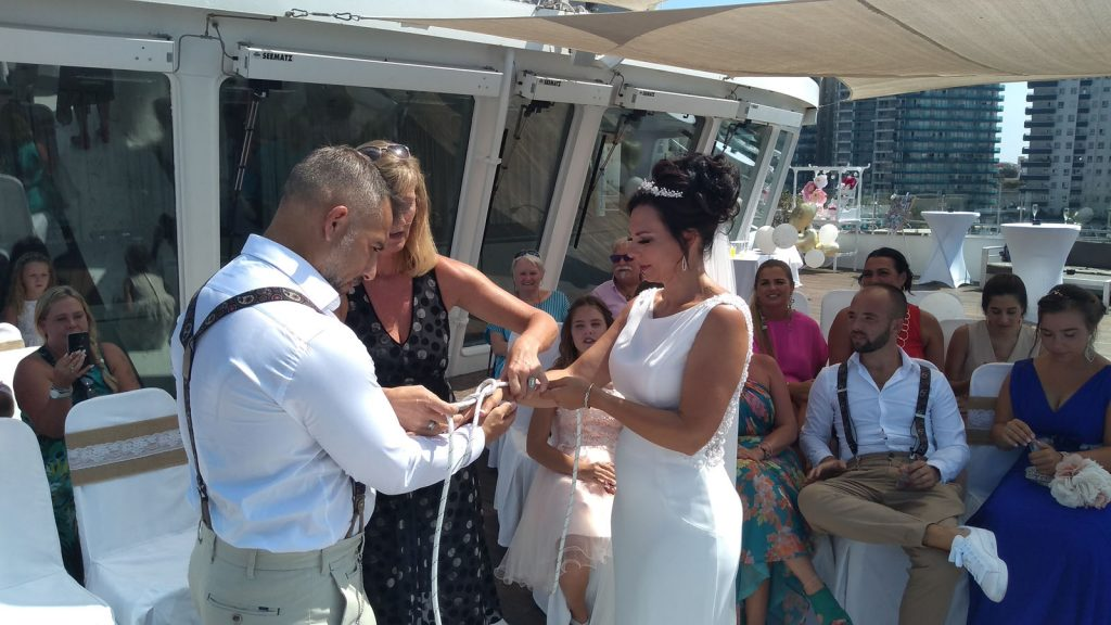 getting married on Gibraltar with wedding ceremony handfasting