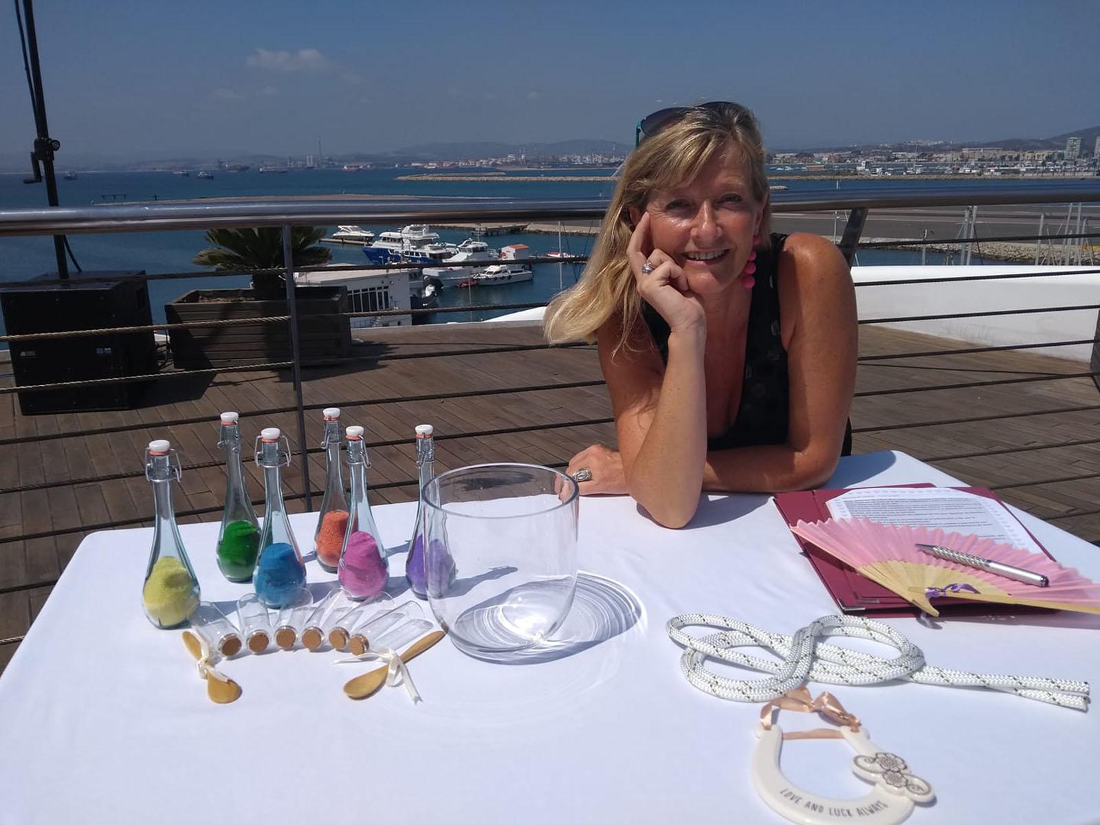 Debbie Skyrme is Celebrant Spain officiating bilingual wedding on the Sunborn Girbraltar