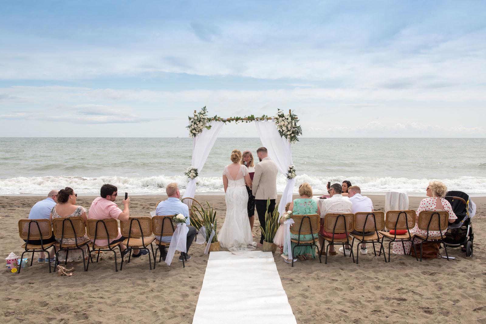 Debbie Skyrme Celebrant Spain officiating beach wedding at Torremolinos in Malaga