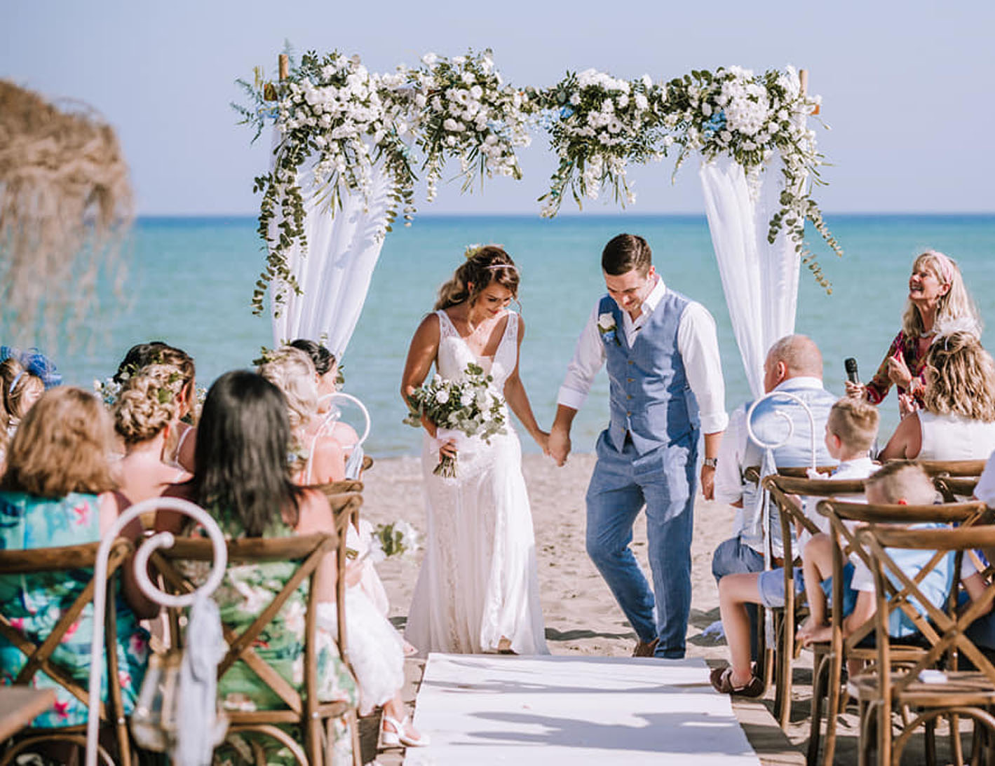 Natasha Ince photo of beach bower at wedding ceremony in Torremolinos officiated by Celebrant Spain