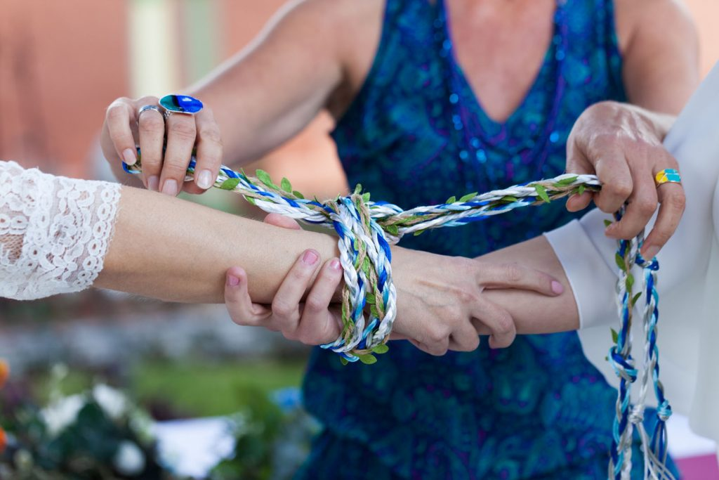 Celebrant Spain handfasting ceremony with two brides