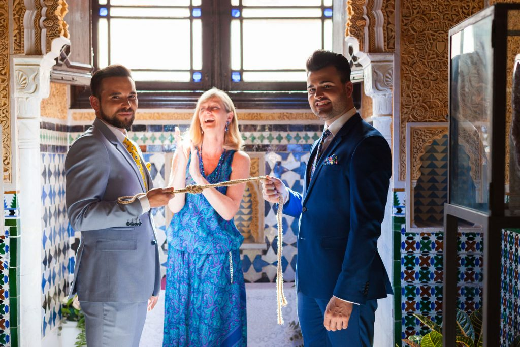 Elopement and handfasting of two grooms officiated by Celebrant Spain