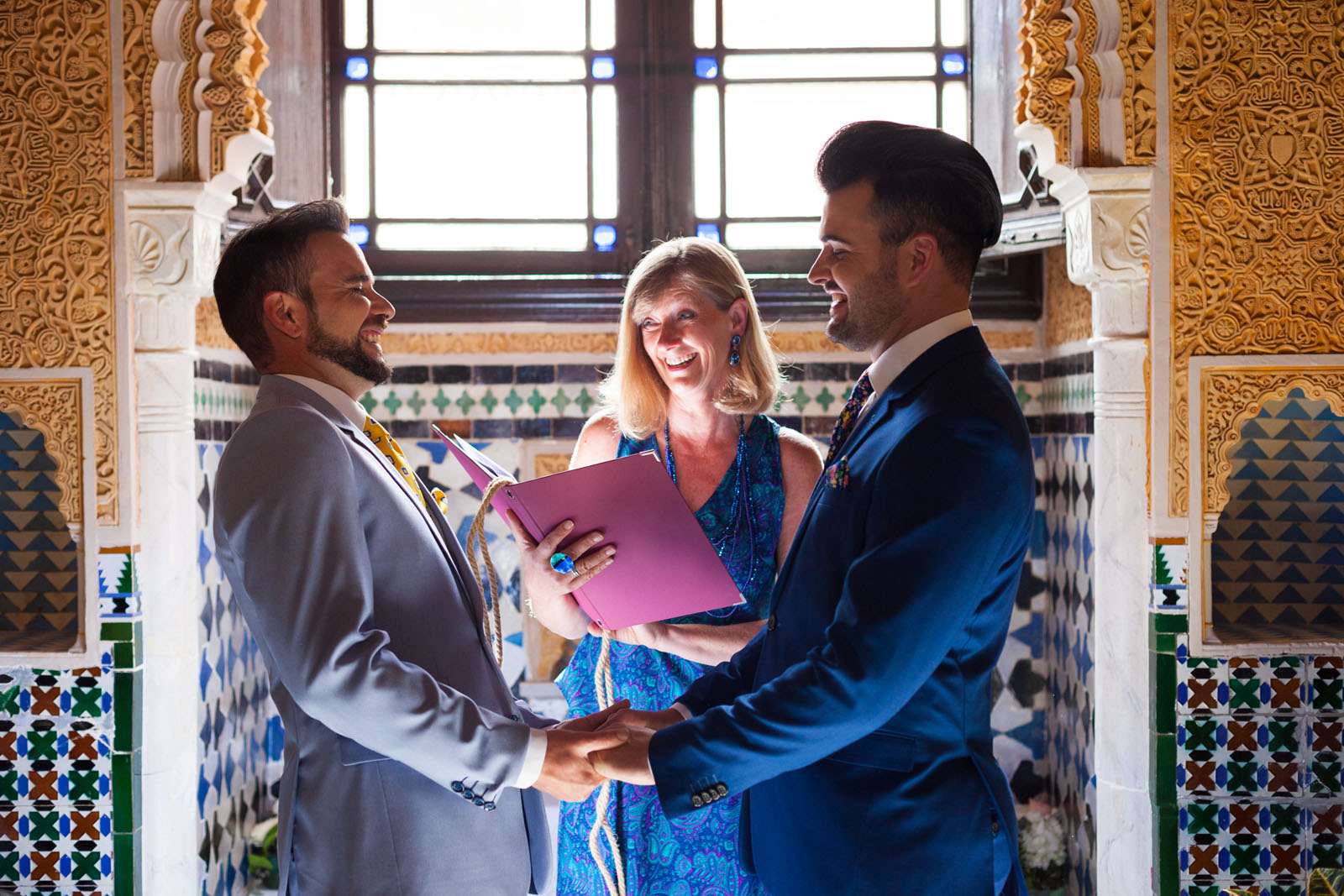 Elopement ceremony of two Spanish grooms officiated by Celebrant Spain