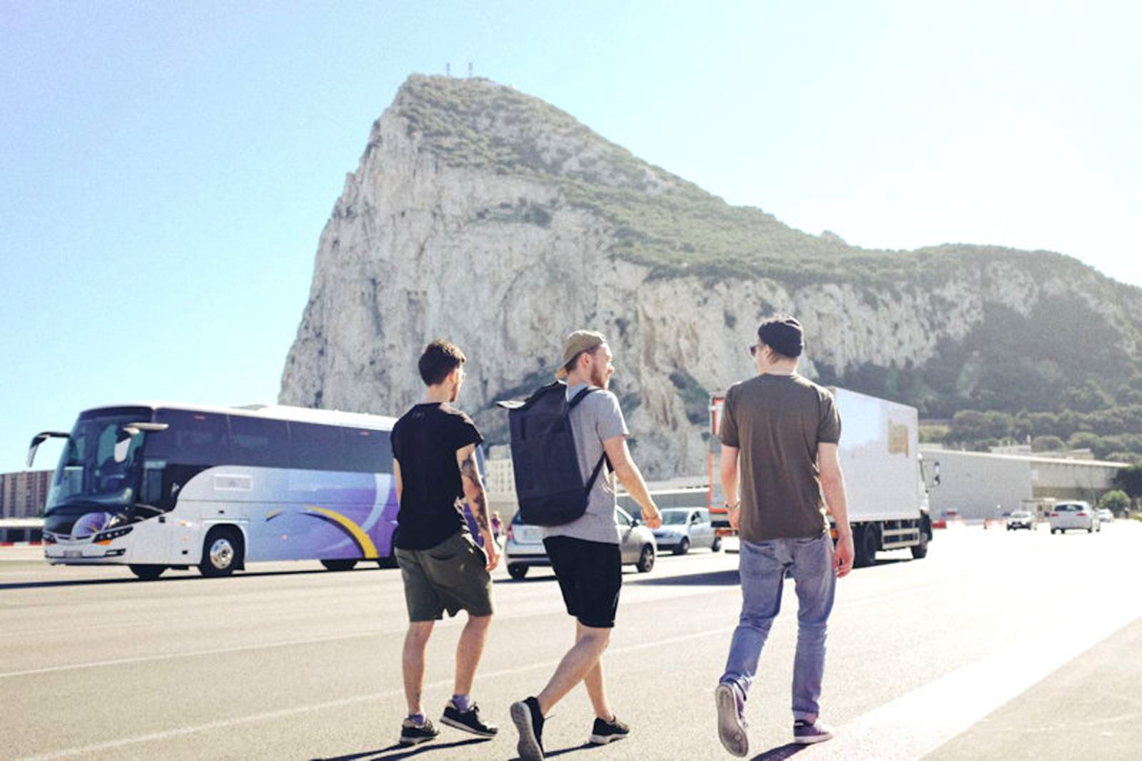 Walk over the border from Spain into Gibraltar