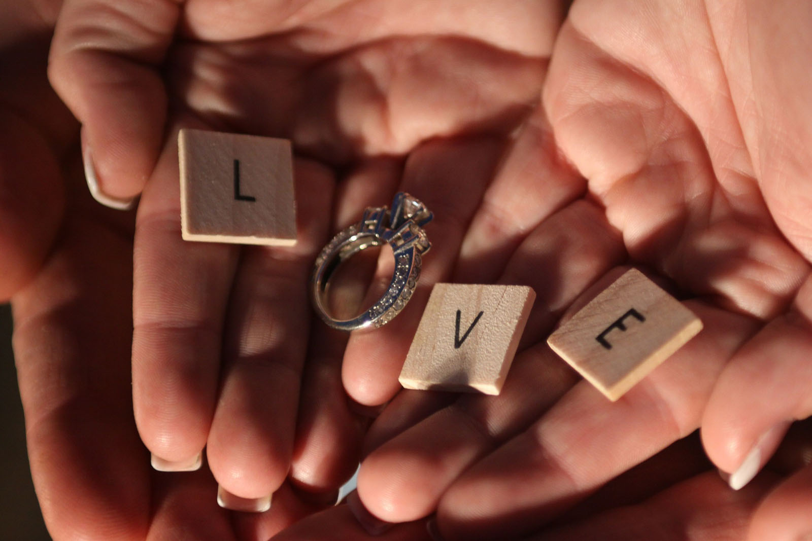 Love tiles and engagement ring