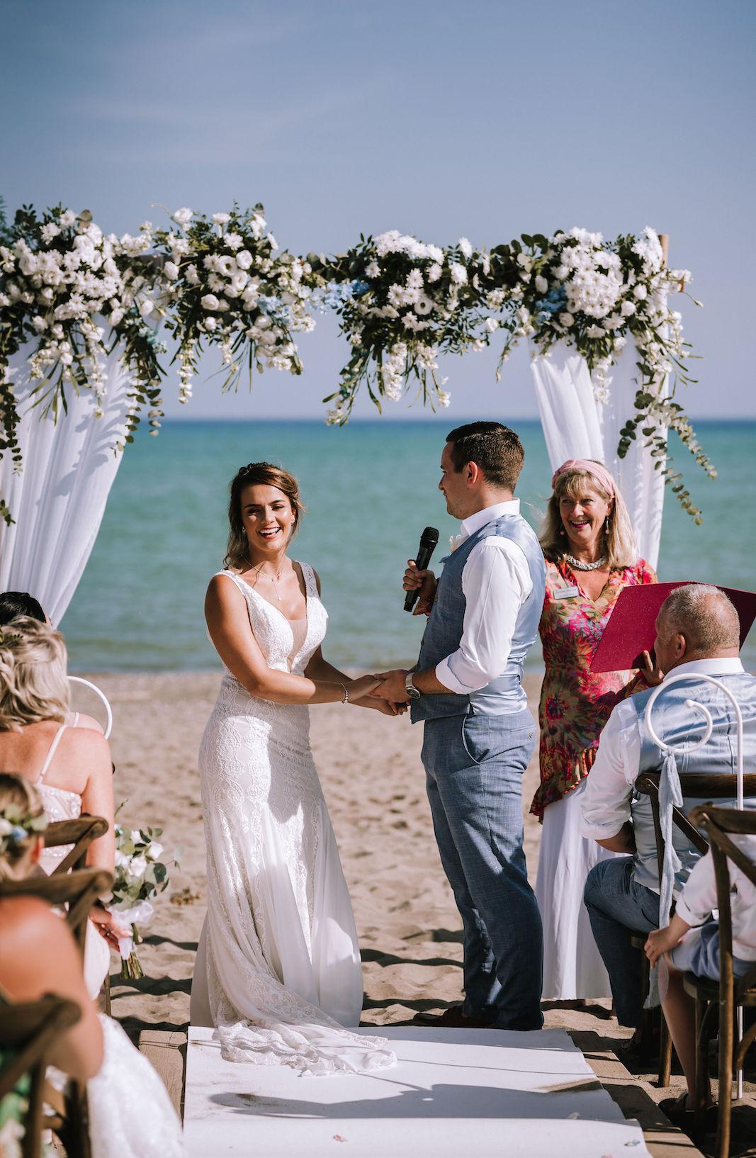 beach wedding bower Malaga officiant is Celebrant Spain and photographer Natasha Ince