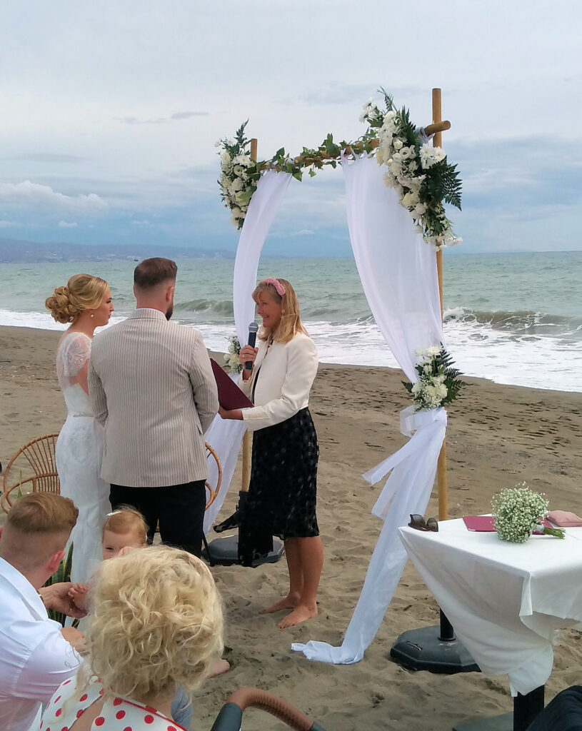 socially distanced beach wedding in Torremolinos