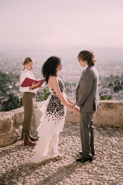 Alhambra palace mirador elopement with Celebrant Spain