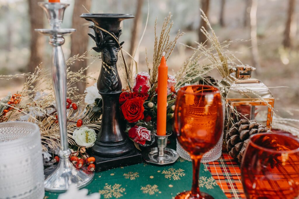 Winter wedding table in the Spanish woods