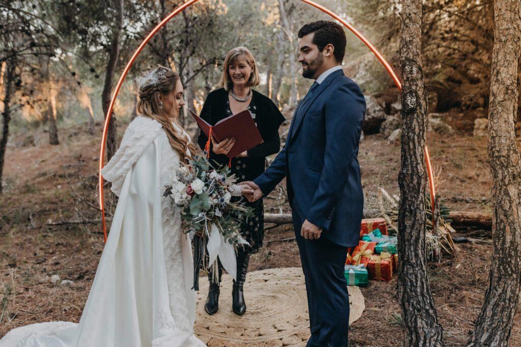 Fairy tale winter wedding ceremony in Spain