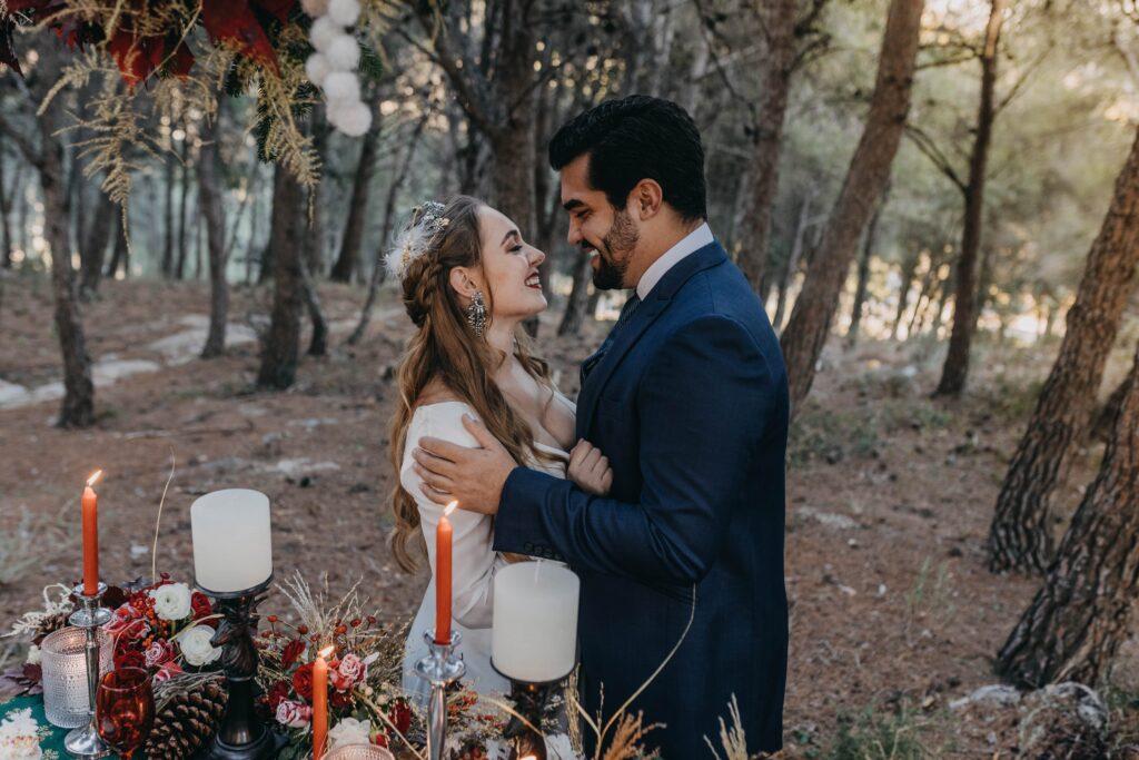 Christmas winter wedding couple