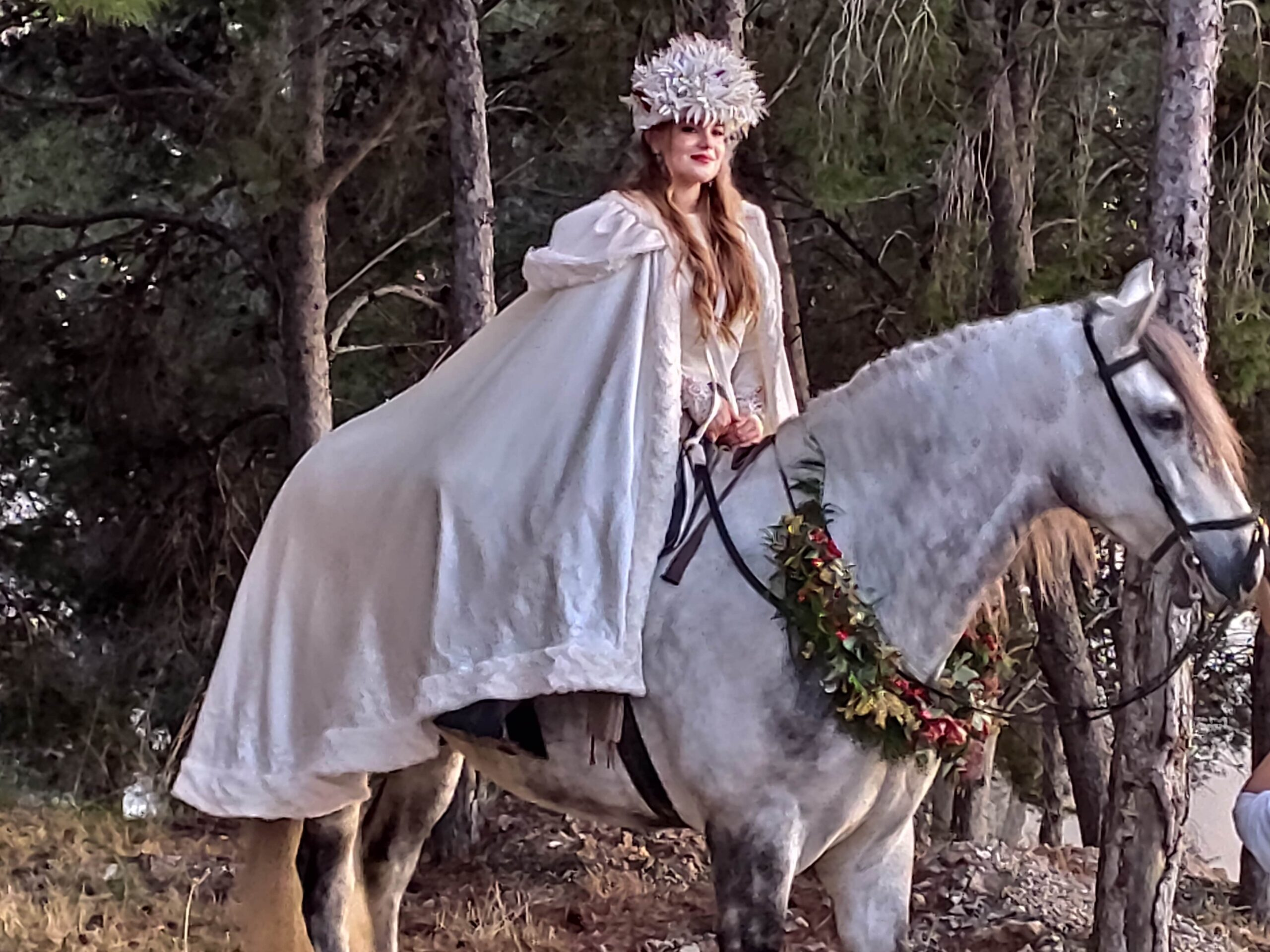 Fairy tale wedding horse and bride