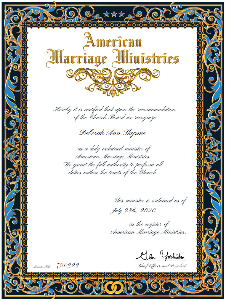 ordained certificate
