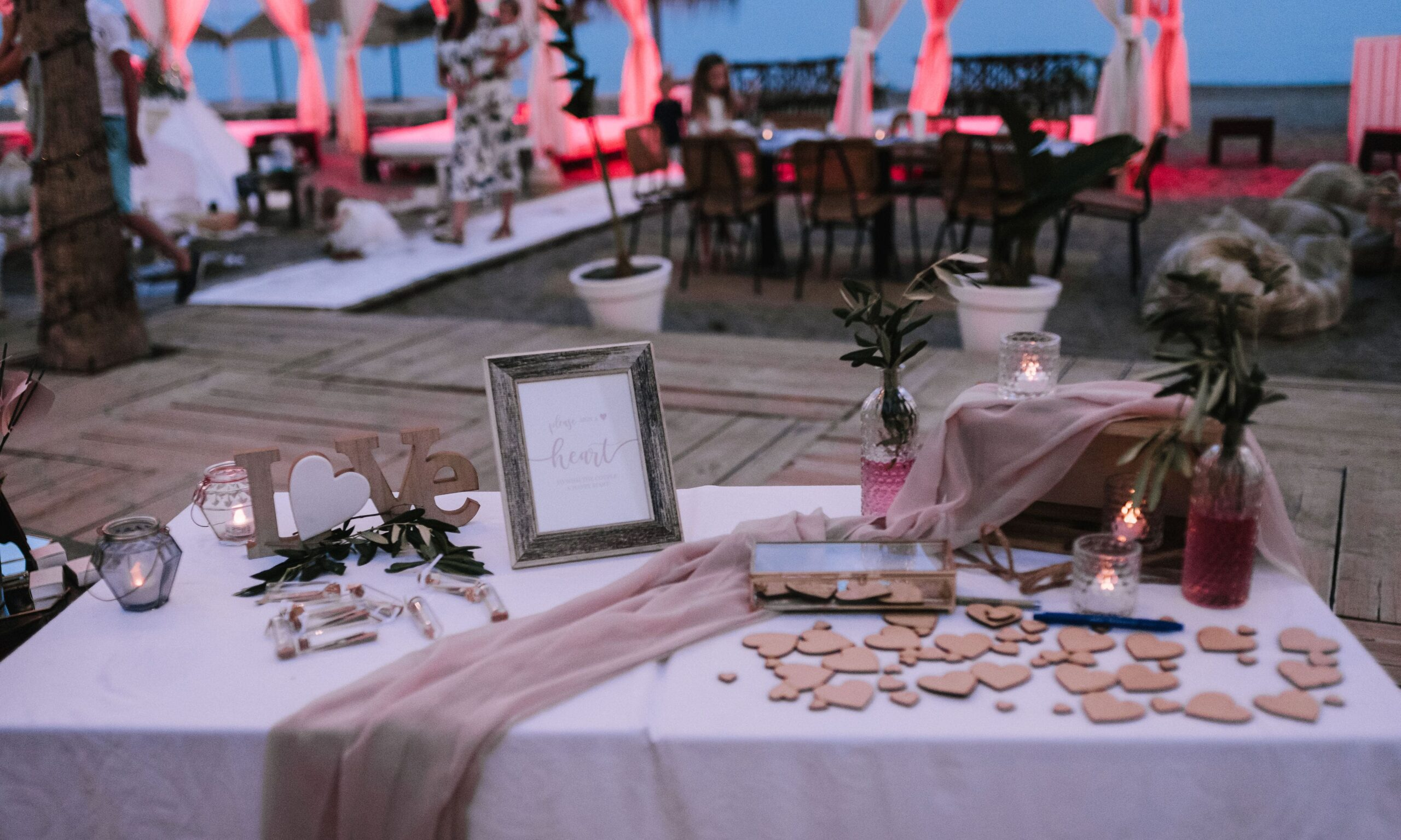 Styled beach wedding favours